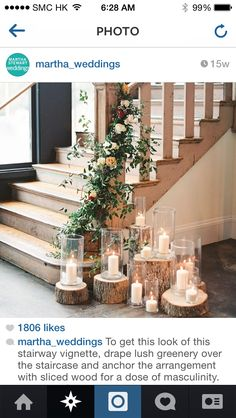 A romantic, rustic stairwell decoration from a South Carolina wedding. But maybe as a rustic Christmas decoration? Wedding Table, Wedding Reception, Our Wedding, Wedding Country, Wedding Rustic, Trendy Wedding, Natural Wedding Decor, Wedding Bells, Indoor Wedding