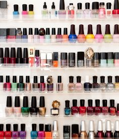 The rumors are true—I have a full-on nail polish rack in my office! Each season, I get sent the latest shades to consider for The ZOE Report and ZOE Beautiful and they needed a proper home. I love the assortment of statement cocktail rings mixed in - because what goes better with a perfect mani than a blinged out hand?