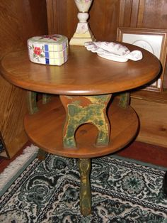 Mid Century 2 tier Maple Round Side Table by VintageAppleTreasure, $139.00 SOLD!