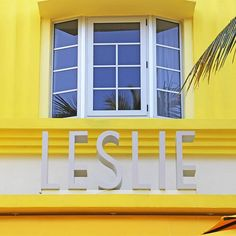 Art Deco signage sits atop the vibrant Leslie Hotel in South Beach