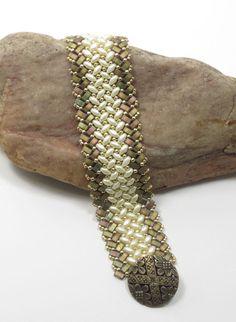 SUPERDUO HALF TILA Herringbone Bracelet by CinfulBeadCreations