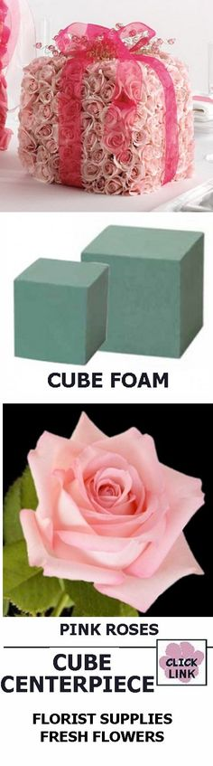 Centerpiece Ideas - Wedding Decorations Cube Foam, Roses and Sheer Ribbon. Buy fresh flowers and florist supplies - click link
