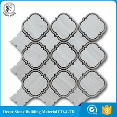 Good Quality Chinese Wooden White Grain Marble Waterjet Mosaic Tiles