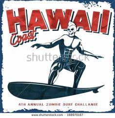 vector illustration skull surf rider drawing. hawaii surf beach.