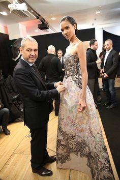 Designer Elie Saab and Model Cora Emmanuel