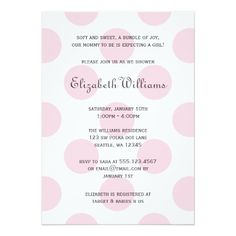 Celebrate your baby shower in style with this classic pink and white polka dot baby shower invitation! Perfect for a girl baby shower. Easily customize with your party details.