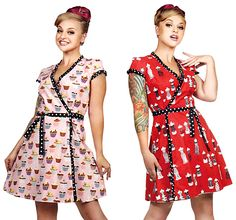 Folter Clothing - Retrolicious Two Faced Reversible Short Dress in Cupcake