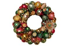 Pink, Green & Gold Ornament Wreath