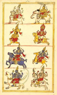 Arrival of ashtadikpala, gods of eight directions. Album 185 illustrations of Shiva History. Karaikal (Tanjore), between 1727 and 1758. National Library of France. Four records:at each level, two gods on their vehicle (vahana) respectively.  Indra, Agni, Yama, Nirriti, Varuna, Vayu, Kubera and Ishana. These are ashtadikpala, gods of the eight directions.