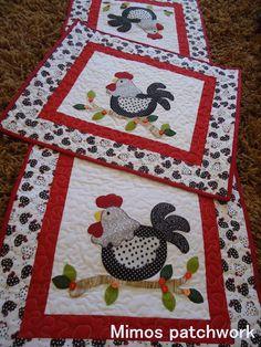 Mimos Patchwork: Jogo de cozinha galinhas