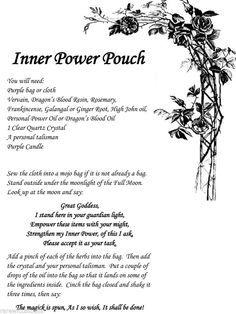 Inner Power Pouch Spell Wicca Book of Shadows Page on Parchment