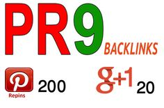 220 PR9 backlink from Pinterest and Google plus one top trusted Social Media Site. #pinterestrepins #pr9backlinks #socialsignals #pinterest #seo #webtraffic