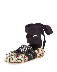 S0FPX Miu Miu Floral-Print Leather Ankle-Wrap Ballerina Flat, Black/Multi