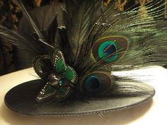 Gothic Cheetah Love - Mini Top Hat and Feather Fascinator Clip in One