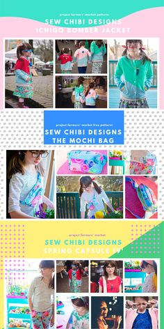 The Ichigo Bomber Jacket PDF Pattern by Sew Chibi Designs. A lightweight, color blocked, knit coat for all kids: boys and girls, from baby to teen! Perfect for spring! $9 USD Also snag a copy of the FREE PATTERN: the Mochi Bag for Kids and Adults. An adjustable strap, zippered chest bag (can be worn on hips too!) with a front pocket! A must-have accessory for any outing!