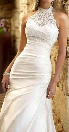 22 Must-See Spring Wedding Dress Trends - Beautiful wedding dress - Wedding Dress Trends, Dream Wedding Dresses, Designer Wedding Dresses, Bridal Dresses, Halter Wedding Gowns, Halter Gown, Lace Bridal, Lace Wedding, Purple Wedding