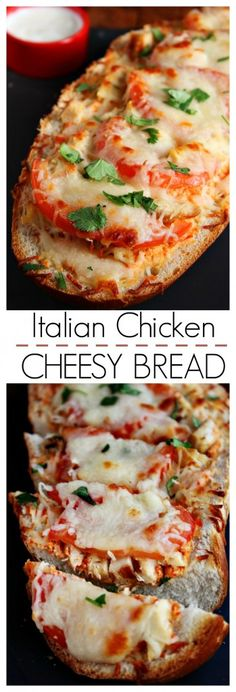 Italian Chicken Cheesy Bread – easy cheesy bread that quickly becomes a meal, all thanks to grilled chicken, sweet red pepper sauce, tomatoes and lots of cheese!