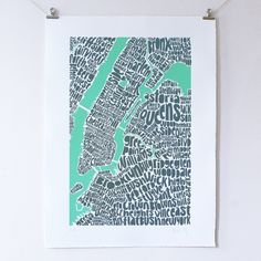 Ursula Hitz  Map of New York  An intricate and fascinating hand-lettered map of New York, limited colour edition of 100, screen printed on archival paper