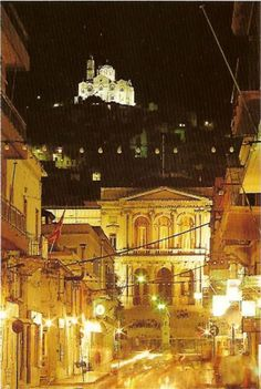 Night view of Siros island
