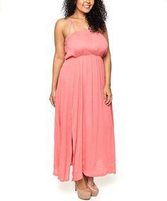 Coral Side-Slit Maxi Dress - Plus by C.O.C. #zulily #zulilyfinds