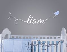 Nursery Wall Decals. Liam name decal with a flying bird decal. Custom made name wall decals for boys and girls rooms. - 1002