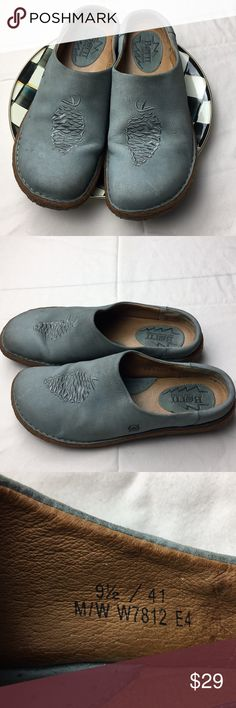 Born Sandals, Mules, Slip-On, Leather, Born Shoes Born, slip on Clog or Mule style Shoes. In good condition. There is a pine one stitched on the top and a pine tree design on the sole.  Great for the PNW.  Size 9.5. Nice color. Born Shoes Mules & Clogs