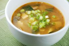 Ginger Miso Soup Recipe - Red Miso, ginger,tofu,garlic,bok choy,green onions. Yummm No calories!