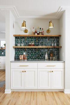 Home Interior Farmhouse .Home Interior Farmhouse Kitchen Interior, New Kitchen, Eclectic Kitchen, Blue Kitchen Ideas, Kitchen Layout, Kitchen Wet Bar, White Tile Kitchen, Awesome Kitchen, Blue Green Kitchen