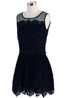 Crochet Mesh Chiffon Navy Blue Dress - Party - Dress - Retro, Indie and Unique Fashion