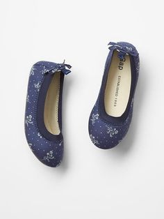 GAP Kids Toddler Girl NWT Size 11 Navy Blue Suede Perforated Star Ballet Flats