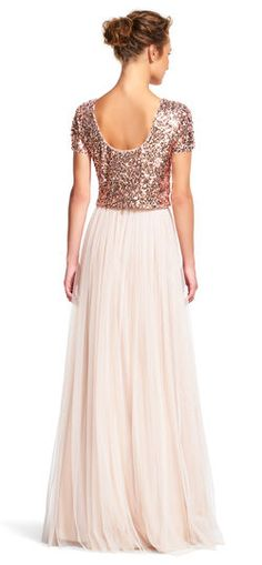 Adrianna Papell | Short Sleeve Sequin Dress Set with Tulle Skirt