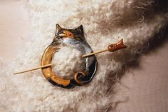 Fat Cat Calico Shawl Pin Polymer Clay by WireDreamsDesign on Etsy