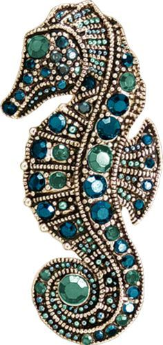 Gem and bead encrusted sea horse. Colors are marvelous!