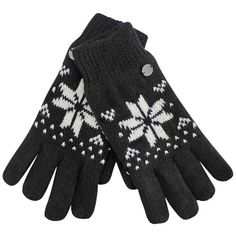 Black & White Snowflake Winter Knit Fleece Lined Gloves (230 ARS) ❤ liked on Polyvore featuring accessories, gloves, unisex, woolen gloves, wool gloves, thermal gloves, white and black gloves and stretch gloves