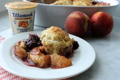 Blackberry Peach Cobbler made with Tillamook Lowfat Yogurt http://www.tillamook.com/community/blog/blackberry-california-peach-yogurt-cobbler/?utm_source=pinterest&utm_medium=social&utm_campaign=yogurt