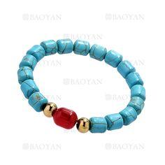 pulsera de turquesa azul con perla rojo y bola dorado acero inoxidable -SSBTG924381