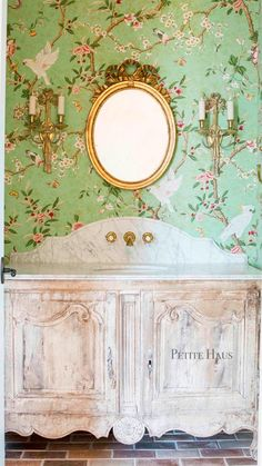 French Country Chinoiserie Powder Room
