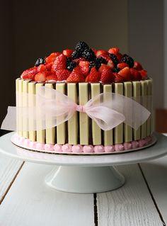 Basket Of Berries Kit Kat Cake