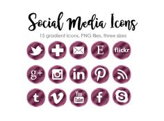 Check out Social Media Icons 45 Social Media buttons Blog Gradient icons Website Clipart Blog Graphics PNG Instant download Purple Icons on marvoliedesign