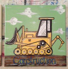 Truck Canvas Painting Boys Bedroom Art Truck by theRedheadedArtist