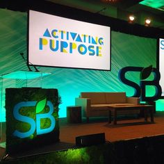 #SustainableBrands conference in SD. Green the stage & lectern.