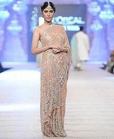 Nida Azwer Wedding Saree Marvelous Fancy Net Saree Party Dress PFDC 2014