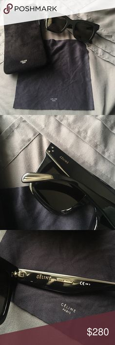 Céline Sunglasses These are authentic, black, wayfarer style Céline sunglasses. They were bought brand new last month for $400, worn a few times, and are no longer wanted. If you want have questions about the product let me know in the comments please. Thank you for taking the time to read this listing, please make reasonable offers I'm willing to negotiate. I have a better price on Ⓜ️ercari if you're interested for less. Celine Accessories Sunglasses