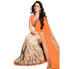 Designer Party Wear Tamanna Embroidered Georgette Bollywood Replica Orange Saree - 15206 ( ML-880 )