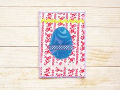 Easter postcard greeting card birthday card patchwork quilted Easter egg flowers ribbon retro fabrics red blue green pink art unique gift by poppyshome on Etsy