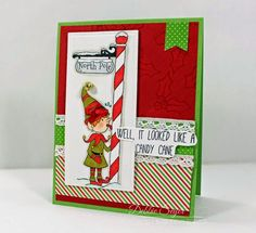 My elves as stamps at The Rubber Cafe!  | rachelwhiteart | The Rubber Cafe Design Team Blog: North Pole or Candy Cane by Debbie Seyer