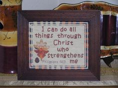 Cross Stitch Bible Verse Philippians I can do all things through Christ who strengthens me Cross Stitch Charts, Cross Stitch Designs, Cross Stitches, Word Of Grace, Philippians 4 13, Encouraging Bible Verses, Faith Hope Love, Friendship Gifts, Gods Promises