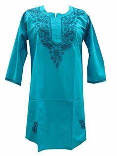 Womens Tunic Kurti Top Dodger Blue Chikan Embroidered Cotton Kurta XL Size #Mogul Interior @ http://www.amazon.com/dp/B00KZF7YC2