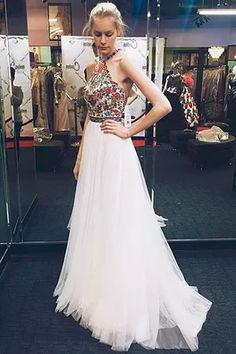 Halter prom dress, ball gown, cute white tulle long dress for prom 2017