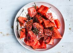 Watermelon with Yogurt, Poppy Seeds, and Fried Rosemary